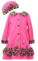 Bonnie Jean Little Girls 4-6X Fuchsia Bonaz Rosette Border Fleece Coat/Hat Set image 1