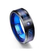 New Arrival Carbon Fiber Scrub Blue Zircon Men Rings 100% Tungsten Carbi... - $26.79