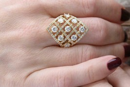 .2.20Ct Round Cut VVS1/D Diamond Cluster Engagement Ring 18K Yellow Gold... - $132.99