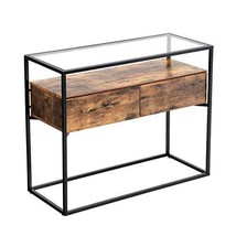 VASAGLE Industrial Console Table, Tempered Glass Table with 2 Drawers and Rustic