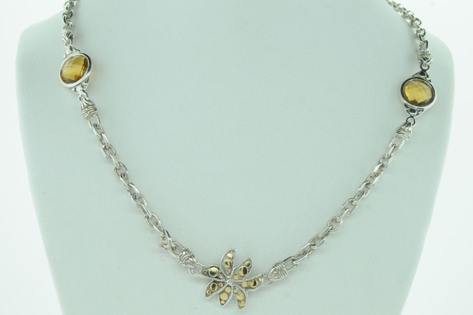 "JOHN HARDY Sterling Silver 18K Yellow Gold Ayu Frangipani Citrine Necklace (24"")"