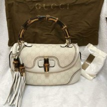 Auth Gucci Bamboo Shoulder Bag White Canvas Leather Medium Flap Turnlock... - $1,304.82