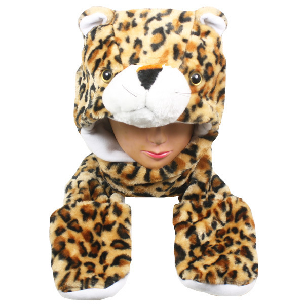 Case of [24] Leopard Animal Winter Hats - Mittens