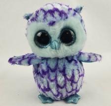 "TY Beanie Boos Oscar the Owl 6"" Plush Blue Glitter Eyes Purple Bird Ty S... - $16.93"