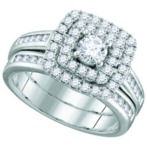 14k White Gold Round Diamond Solitaire Double Halo Bridal Wedding Ring Set - $1,499.00