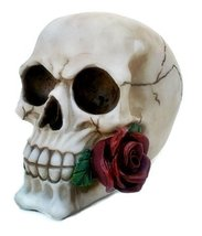 Realistic Replica Human Skull Statue with Red Rose Sculpture Figure Skeleton Lim - $18.80