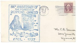 196th Anniversary of Founding of Richmond Shacco Virginia Cover! VA Gree... - $2.99