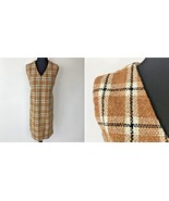 Vintage 1960s 1970s Harvest Gold Brown Plaid Burlap Shift Dress size L O... - $24.95