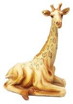 "Ebros Safari Savannah Sitting Giraffe Statue 6.25""Tall Faux Wood Resin Wildlife  - $15.99"