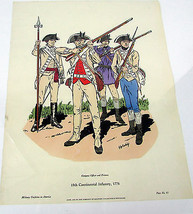 "Vintage Uniforms in America "" 18th CONTINENTAL INFANTRY 1776 ""  Art 14x1... - $5.82"