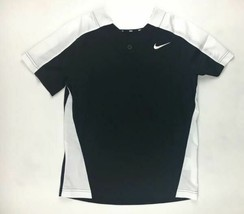 New Nike Team One Button Baseball Practice Jersey Boy's Medium Black BQ6420 - $13.26