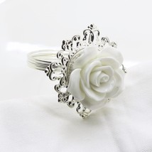 White Resin Rose Napkin Ring Wedding Decorative Table Banquet Dinner 6pc... - $12.64+