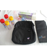 LOT Baby Bottles And Diaper Bag Backpack Black Adjustable Shoulder Strap... - $59.39
