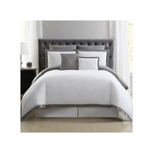 Truly Soft Everyday Full/Queen Hotel Border 7-pc  Duvet Cover Set White/Gray - $75.23