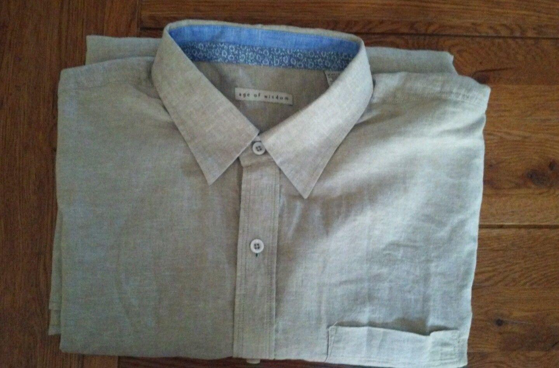 AGE OF WISDOM Men's Long Sleeve Linen/Cotton Shirt XX-LARGE TAN