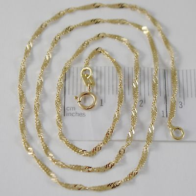 SOLID 18K YELLOW GOLD SINGAPORE BRAID ROPE CHAIN 18 INCHES, 2 MM MADE IN ITALY