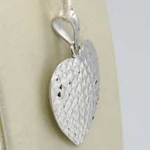 18K WHITE GOLD HEART PENDANT, CHARMS, FINELY WORKED, CURVED, MADE IN ITALY image 2