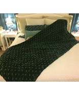 "BELLA NOTTE EMBROIDERED SILK VELVET COMFORTER in THYME (DEEP GREEN) 98"" ... - $695.00"