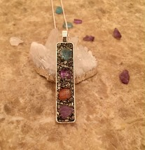 Handmade Gemstone Pendant Amethyst, Blue Carnelian, and Crushed Pyrite. - $28.00