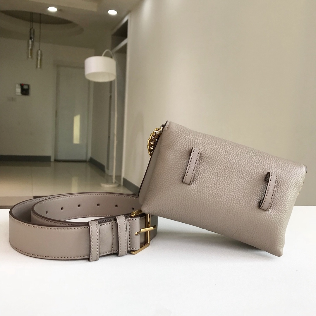 Tory Burch KIRA MIXED-MATERIALS BELT BAG Grey