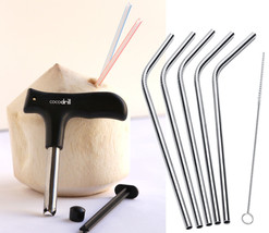 CocoDrill Coconut Opener Tool + 5 Reusable Stainless Steel Drinking Stra... - $12.85