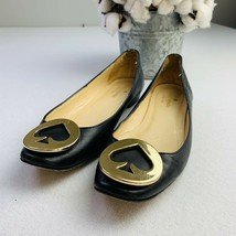 Women's Kate Spade Black Leather Flats With Gold Spade Size 5 - $37.13
