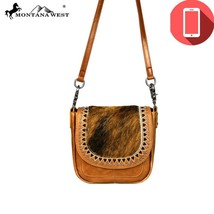 Montana West Tribal Design Hair on 100% Leather Phone Charging Crossbody Handbag - $61.99