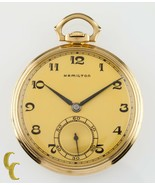 Hamilton 14K Yellow Gold Antique Open Face Pocket Watch Gr 923 10S 23 Jewel - $2,728.52
