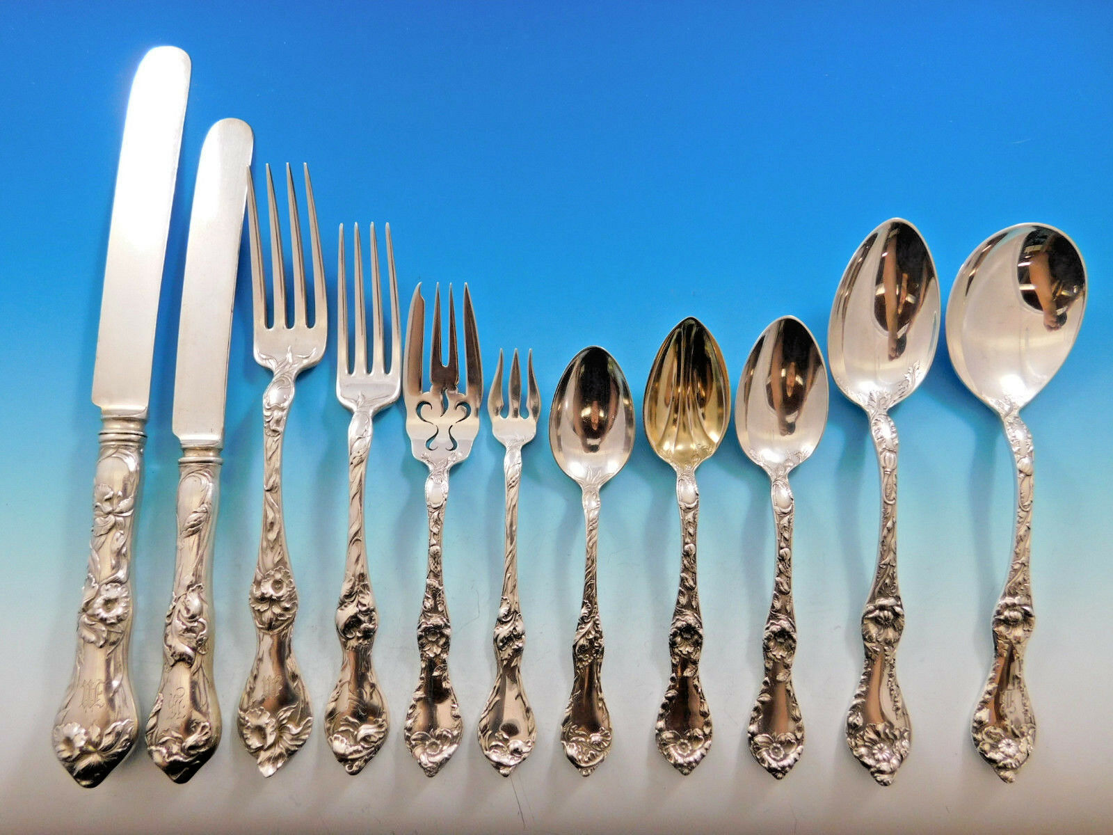 Primary image for Les Cinq Fleurs by Reed & Barton Sterling Silver Flatware Set Service 145 pcs