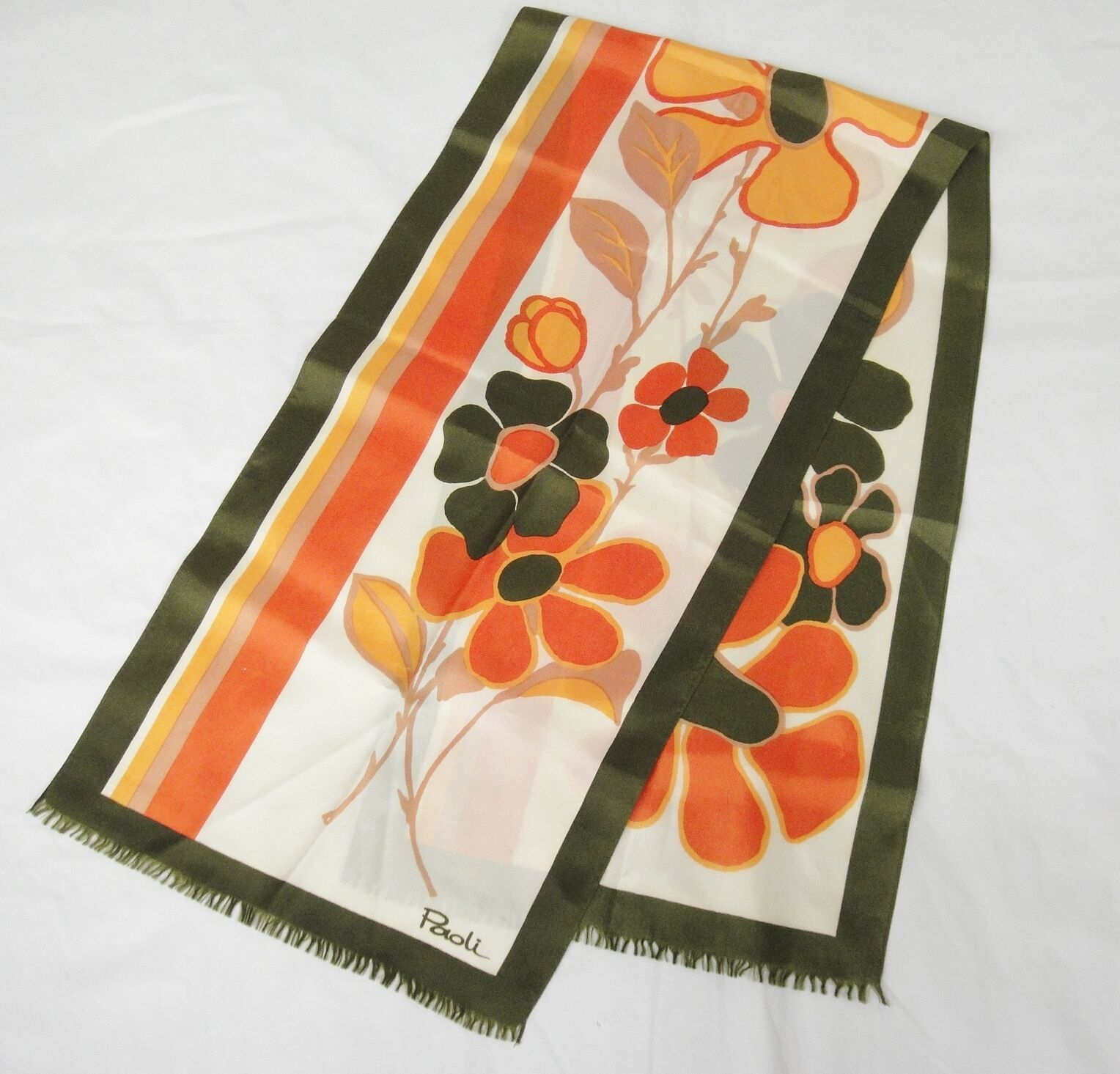 Primary image for Paoli Silk Scarf 52x13 Olive Green Orange and Brown Big Flowers 1970s Vintage