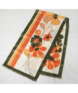 Paoli Silk Scarf 52x13 Olive Green Orange and Brown Big Flowers 1970s Vi... - $13.85