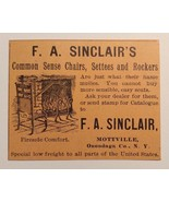 1893 F. A. Sinclair's Chairs, Settees & Rockers Advertisement Mottville, NY - $20.00