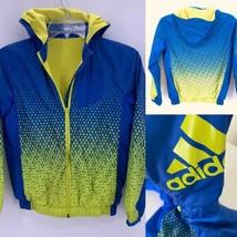 Adidas XS 7-8 Boys Blue Yellow Logo Athletic Zip-Up Hooded Windbreaker J... - $24.70
