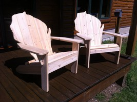 Set of Two Wisconsin Cedar Chairs and a Cheddar Side table - $299.00