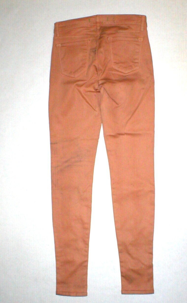 New J Brand Jeans Skinny Womens Coated Peach Leather Mid 26 Tigers Eye Pants USA image 8