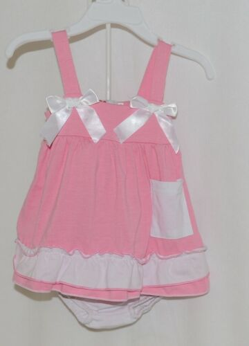 I Love Baby Pink White Sun Dress Ruffle Bloomers Size 80cm 1 to 2 Year Old