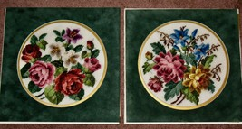 """Lot of 2 Vintage NEEDLEPOINT FLORAL ROUND PICTURES Green Velvet Mats 12""""... - $37.39"""