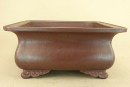 Tokoname ware Bonsai Pot Purple mud bag type outer edge square pot 41cm New - $585.08