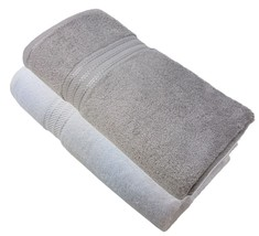 2 X LUXURY STRIPED HOTEL QUALITY EGYPTIAN COTTON WHITE SILVER HAND TOWEL... - $21.32