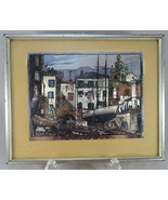 Vintage Color Foil Lionel Barrymore Little Boatyard, Venice Picture Fram... - $45.00