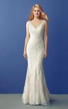 Elegant V Neck Mermaid V Neck Chapel Train Long Ivory Lace Wedding Dress - $155.00