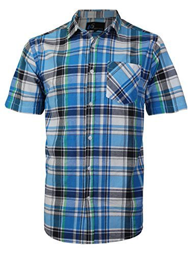 vkwear Men's Plaid Checkered Button Down Casual Short Sleeve Dress Shirt (XL, Bl