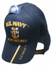 U.S. Navy MCPO Hat Retired USN Navy Blue Embroidered 3D Cap  - $21.77