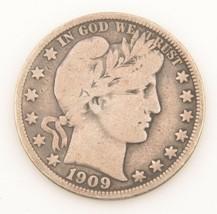 1909 US Barber Half Dollar Silver Coin (Fine) Philadelphia 50c 1/2 $ KM-116 - $57.14