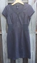 Spense Womens 6 Gray Knit Stretchy 1/4 Zip Short Sleeve Dress Spring N6 - $15.83
