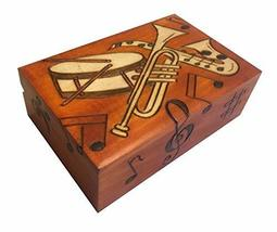 Polish Handmade Wood Box Music Instruments and Notes Music Jewelry Box - €32,40 EUR