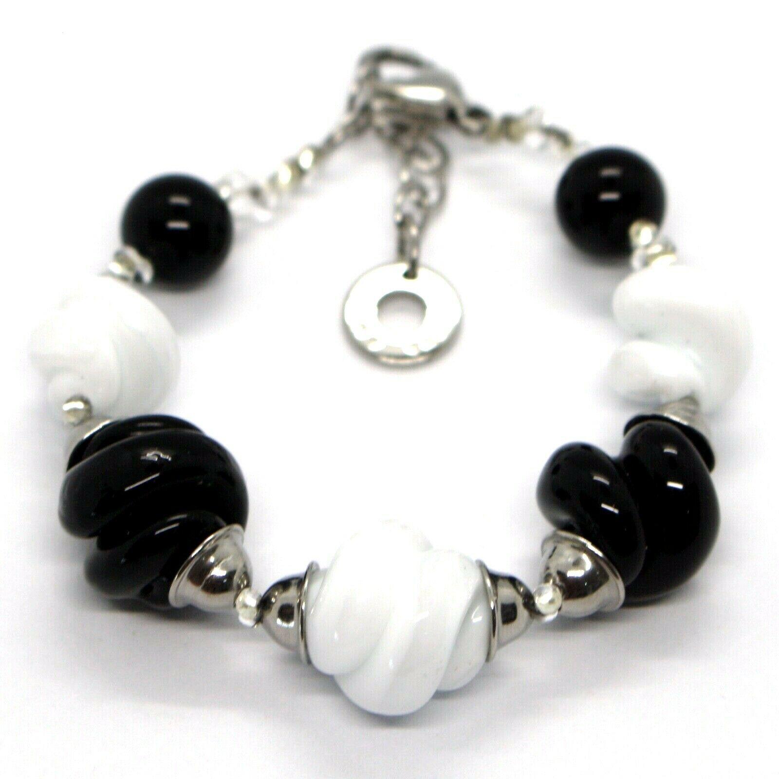 Bracelet Antica Murrina Venezia, Murano, Spheres Spiral, Black White