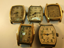 5 Vintage Elgin Art Deco Elgin Art Deco Watches For Restoration Or Trench Parts - $217.69