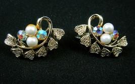 Coro Pearl and AB Rhinestone Vintage 1960s Clip Earrings Filigree Hearts... - $24.74