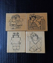 DOTS Rubber Stamp Lot 4 Emily Angel Rag Doll Girls On Phone Sister Act Too  - $12.92